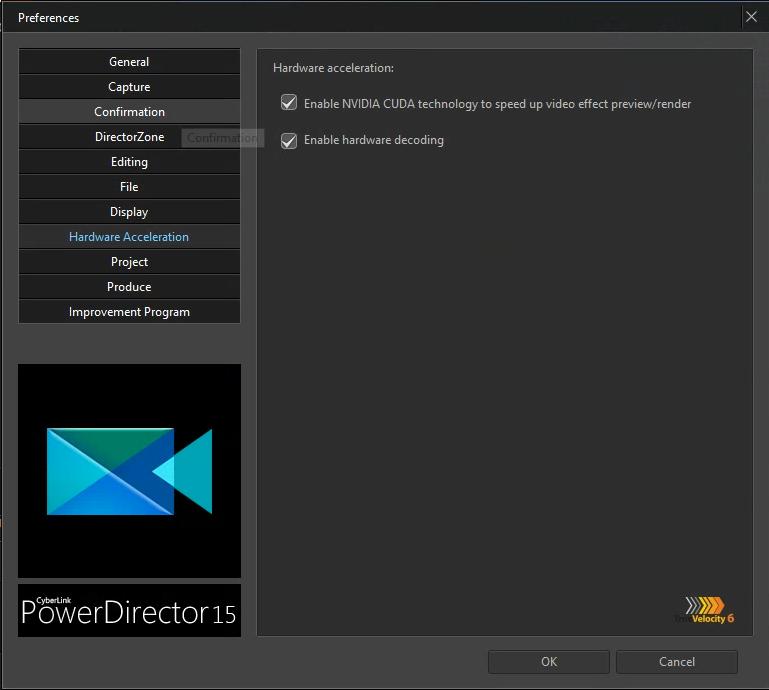 PowerDirector 15 with CUDA enabled